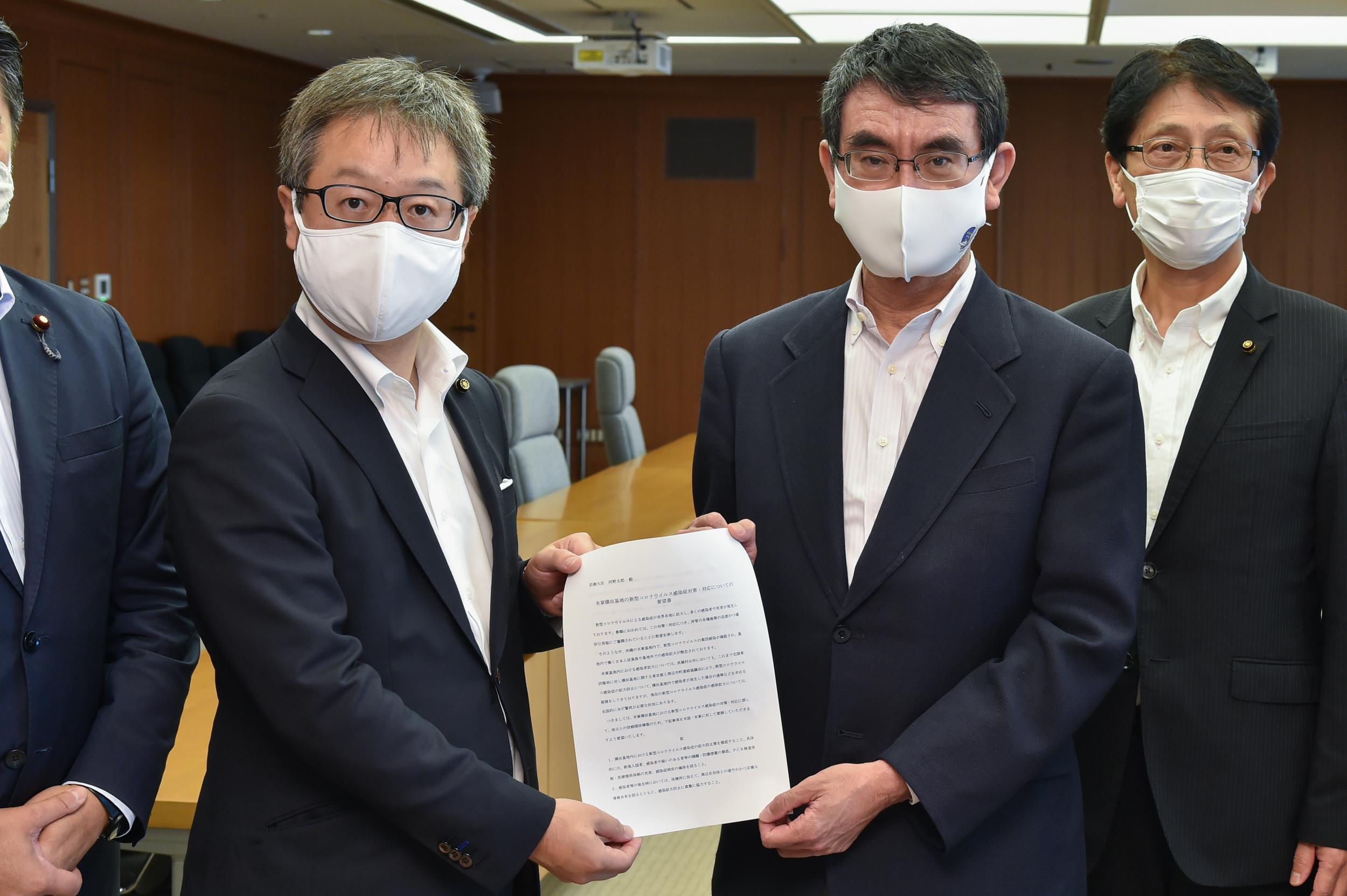 河野防衛大臣らと面会 横田基地におけるコロナ対策について要望